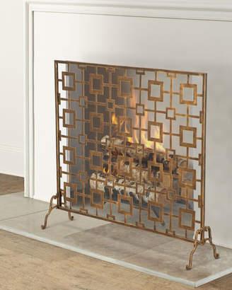 Tole Geometric Single Panel Fireplace Screen