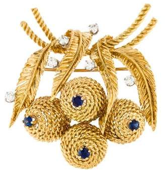18K Sapphire & Diamond Blossom Brooch