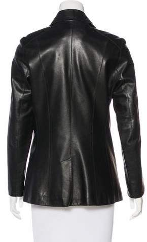 Andrew Marc Notched-Lapel Leather Jacket