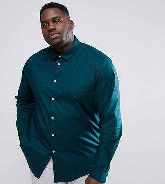 Asos Plus Stretch Regular Fit Shirt In Teal