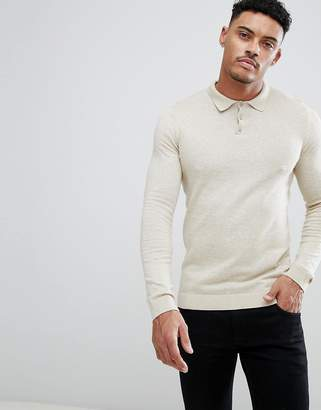 Asos Design Knitted Muscle Fit Polo In Oatmeal