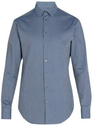 Giorgio Armani Zig Zag Pattern Cotton Shirt - Mens - Blue Multi