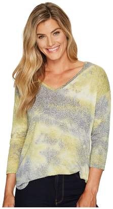 Tribal 3/4 Sleeve Burnout Jersey V-Neck Top Women's Long Sleeve Pullover