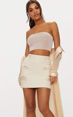 PrettyLittleThing Ecru Distress Denim Mini Skirt
