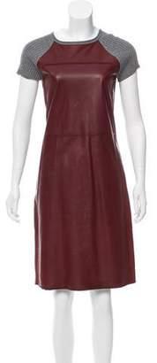 Reed Krakoff Leather-Paneled Knit Dress