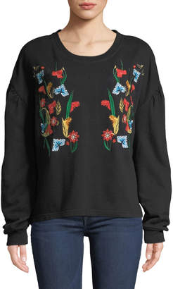 Velvet Heart Janet Floral-Embroidered Balloon-Sleeve Sweatshirt