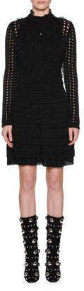 Giambattista Valli Long-Sleeve Ruffled Lace Front Open-Stitch Wool-Mohair Cardigan