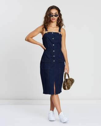 Missguided Denim Midi Pinafore