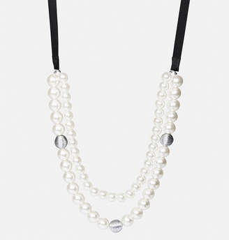Avenue Oversize Faux Pearl Ribbon Necklace