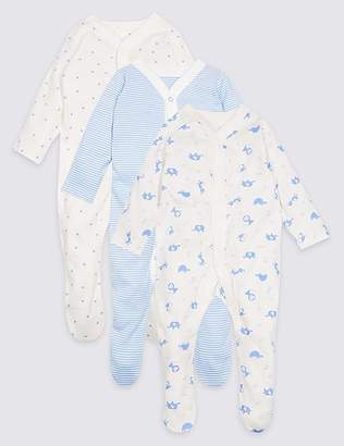 Marks and Spencer 3 Pack Animal Print Pure Cotton Sleepsuits