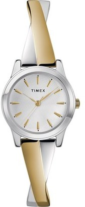 Timex Women's Stretch Bangle Crisscross 25mm Two-Tone Watch, Expansion Band