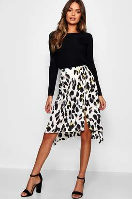 boohoo Satin Leopard Print Button Split Midi Skirt