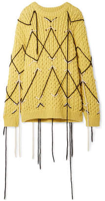 Calvin Klein Embroidered Wool And Mohair-blend Sweater - Yellow