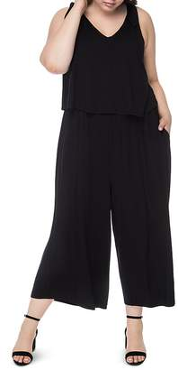 B Collection by Bobeau Curvy Tie-Shoulder Wide-Leg Jumpsuit