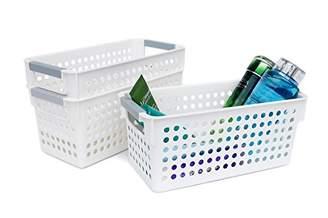 Honla Slim White Plastic Storage Baskets/Bins Organizer with Gray Handles