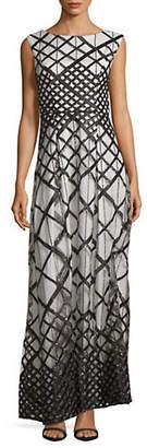 Karl Lagerfeld PARIS Embellished Geo-Print Gown