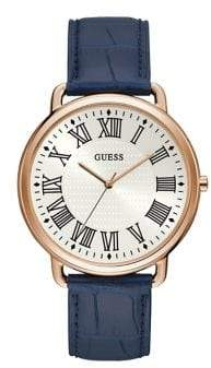 GUESS Lincoln Stainless Steel Leather-Strap Watch