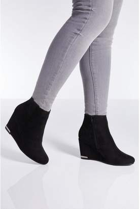 Quiz Black Faux Suede Wedge Heel Ankle Boots