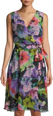 Tahari ASL Floral-Print Chiffon Wrap Dress