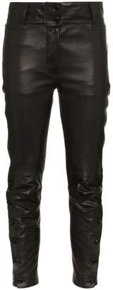 Ann Demeulemeester mid rise cropped leather trousers