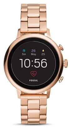 Fossil Q Explorist HR Rose Gold-Tone Touchscreen Smartwatch, 40mm