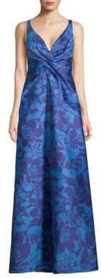 ML Monique Lhuillier V-Neck Floral Gown