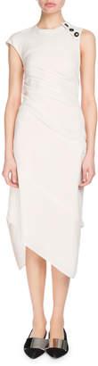 Proenza Schouler Cap-Sleeve Textured Crepe Asymmetric Midi Dress