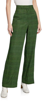 Christian Wijnants Pelmo High-Rise Wide-Leg Check Pants