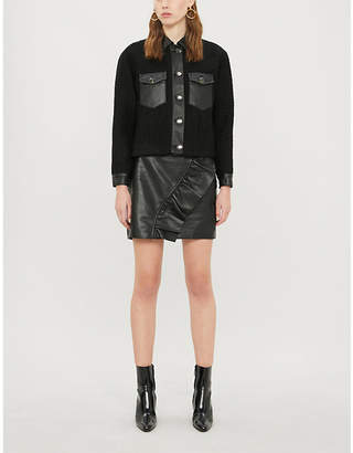 Sandro Cropped leather-trim boucle jacket