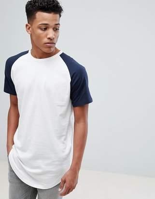 Jack and Jones Originals Longline T-Shirt With Raglan Sleeve
