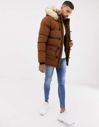 SikSilk parka jacket with fur hood in brown