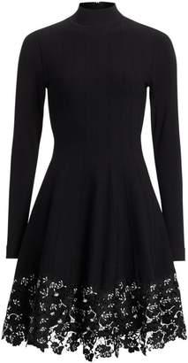 Lela Rose Lace Hem Knit Fit-&-Flare Dress