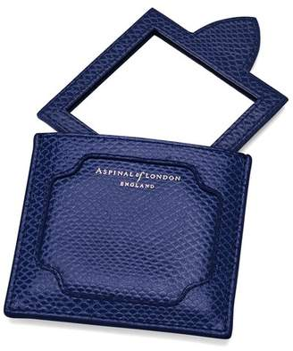 Aspinal of London Marylebone Compact Mirror In Midnight Blue Lizard