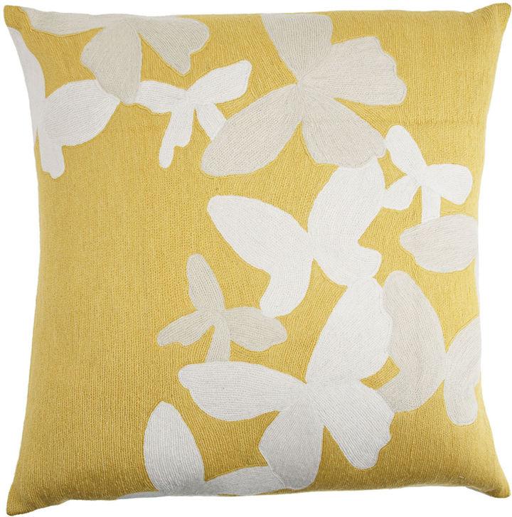 Judy Ross Large Butterflies Pillow- Yellow/Cream