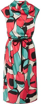 Marc Jacobs Belted Draped Printed Silk-twill Midi Dress