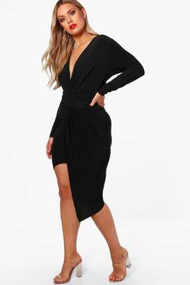 boohoo Plus Slinky Long Sleeve Plunge Wrap Dress