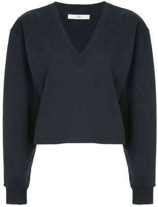 Tibi V-neck cropped sweatshirt