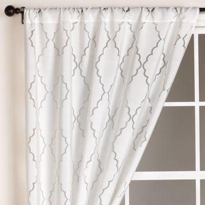 White Lattice Burnout Curtain