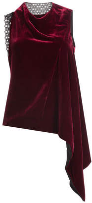 Roland Mouret Velvet Top with Asymmetric Hemline and Lace