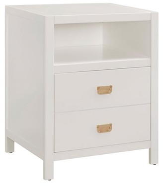 Linon Peggy End Table, White, 2 drawers and 1 Open Shelf
