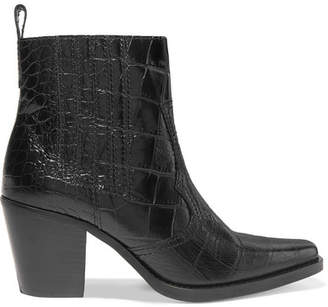 Ganni Callie Croc-effect Leather Ankle Boots - Black