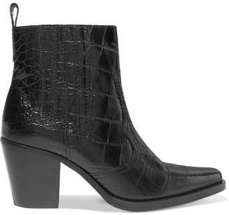 Ganni Croc-effect Leather Ankle Boots - Black