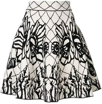 Alexander McQueen abstract print flared skirt