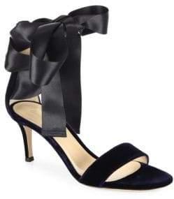 Gianvito Rossi Velvet Satin Bow Sandals
