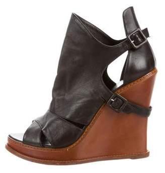 Ermanno Scervino Leather Wedge Sandals