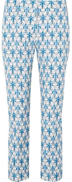 Prada - Iris Printed Stretch-poplin Skinny Pants - Blue