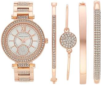 Adrienne Vittadini Women's Simulated Crystal Watch & Bracelet Set