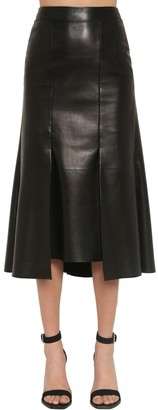 Alexander McQueen PEPLUM NAPPA LEATHER MIDI SKIRT