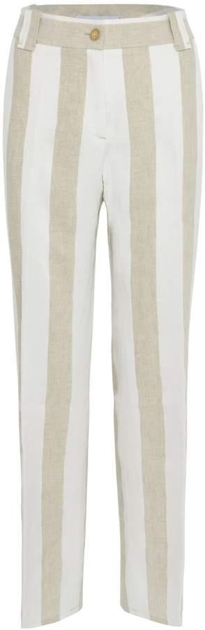 Via Masini 80 & Beige Striped Linen Trouser