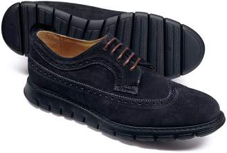 Charles Tyrwhitt Navy Suede Extra Lightweight Derby Brogue Shoes Size 8.5